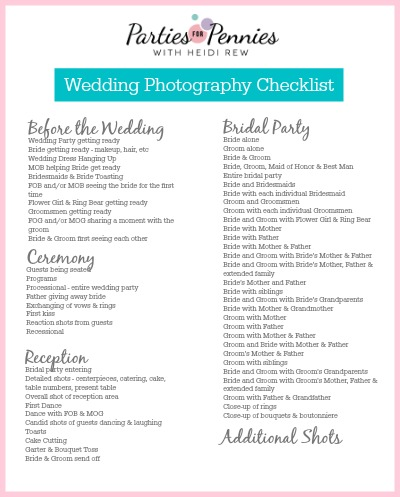 photo about Wedding Photography Checklist Printable named Wedding day Pictures Record - Functions for Pennies