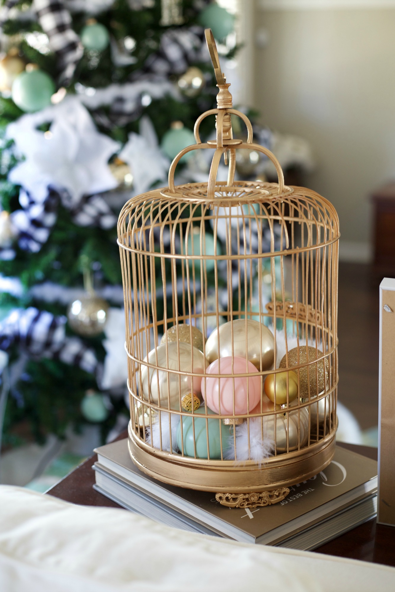 bird cage decoration with ornaments