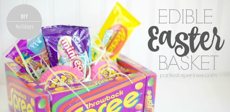 DIY Edible Easter Basket by PartiesforPennies.com | Make a fun & totally edible Easter basket this year! I show you a Healthy version too!