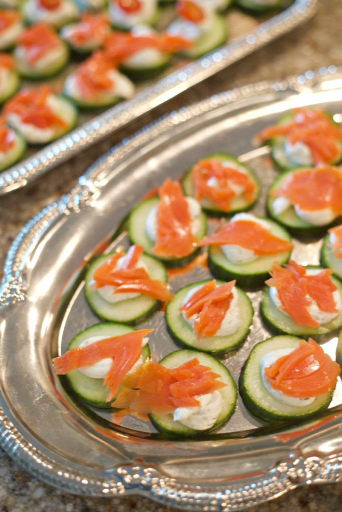 Breakfast at Tiffany's Baby Shower - Cucumber Salmon Appetizer, Cucumber Bites