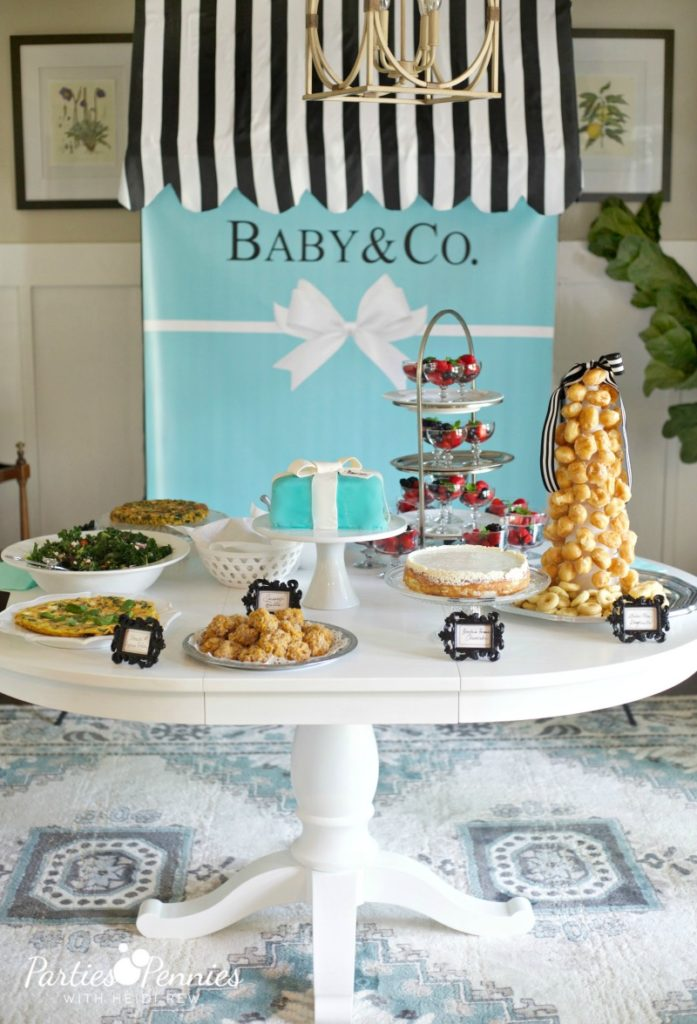 Breakfast at Tiffany's Baby Shower - backdrop, shower, food table