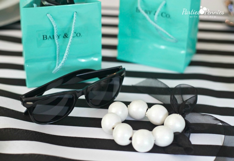 Breakfast at Tiffany's Baby Shower, Favors, Edible Pearl Bracelet, Gumball bracelet