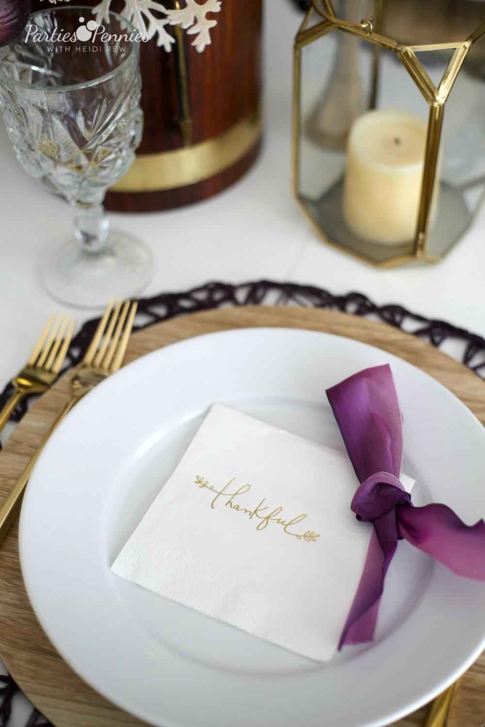 Gold and Plum Thanksgiving Table by PartiesforPennies.com | Placesetting | Fall Table