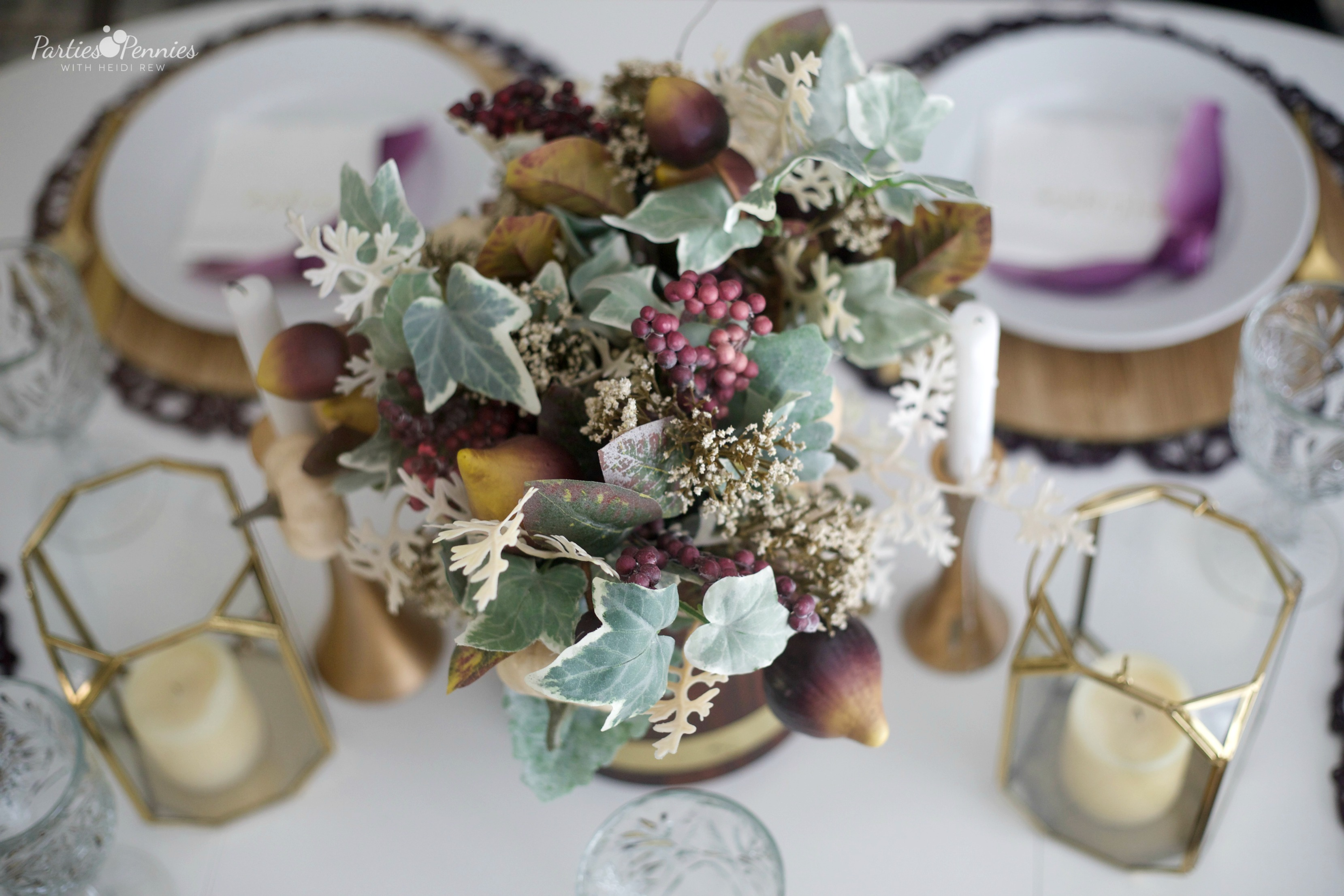Gold and Plum Thanksgiving Table | Fall Arrangement | Fall Centerpiece by PartiesforPennies.com
