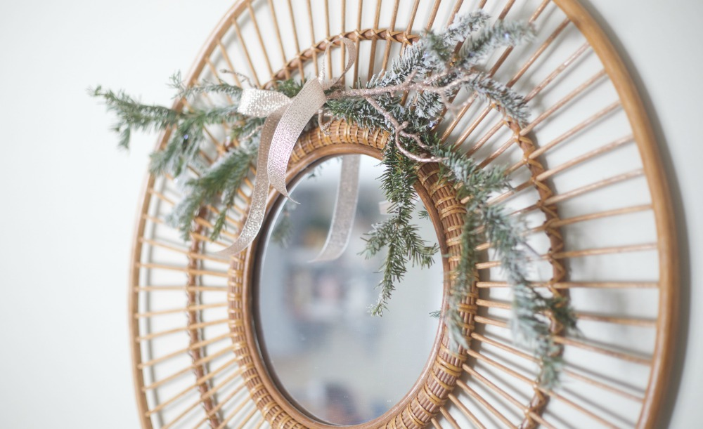 Flocked Branch Decorations   Rose Gold Christmas   Parties for Pennies   Mirror Christmas Decoration
