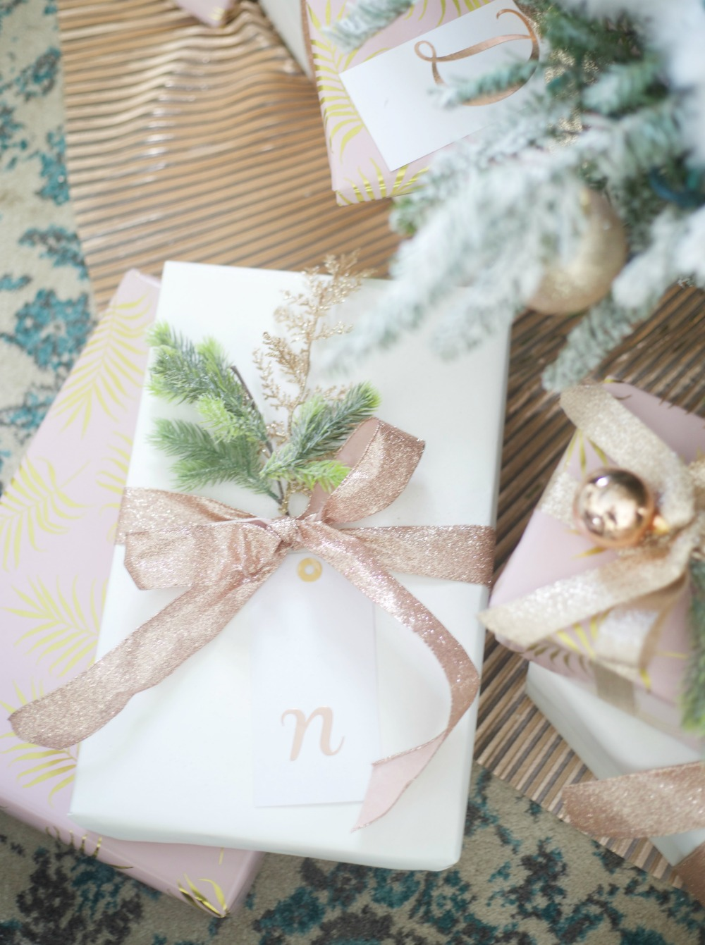 Rose Gold Wrapping Paper   Christmas Presents   Wrapping paper idea   How to Wrap a Present   Rose Gold Tree Skirt