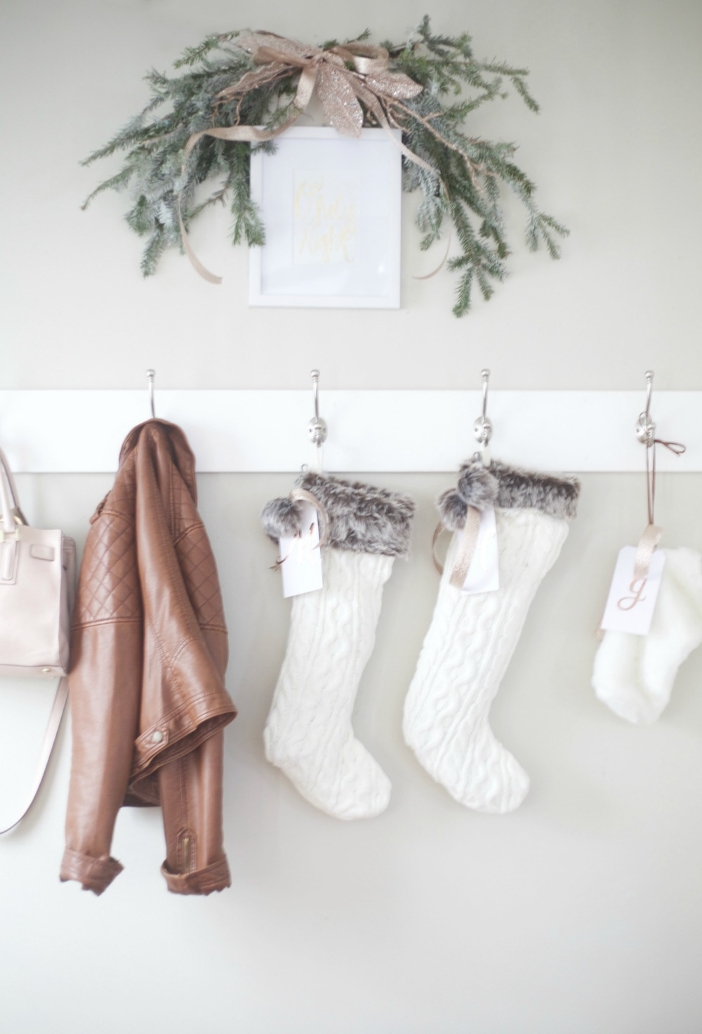 Rose Gold and White Stockings | Rose Gold Christmas Decorations | Parties for Pennies