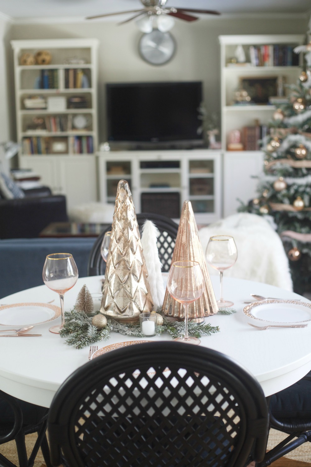 Rose Gold Centerpiece | Rose Gold Christmas Decorations | Rose Gold Tablesetting | Parties for Pennies