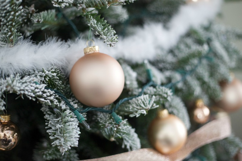 Rose Gold Ornament   Flocked Christmas Tree   How to Flock a Tree