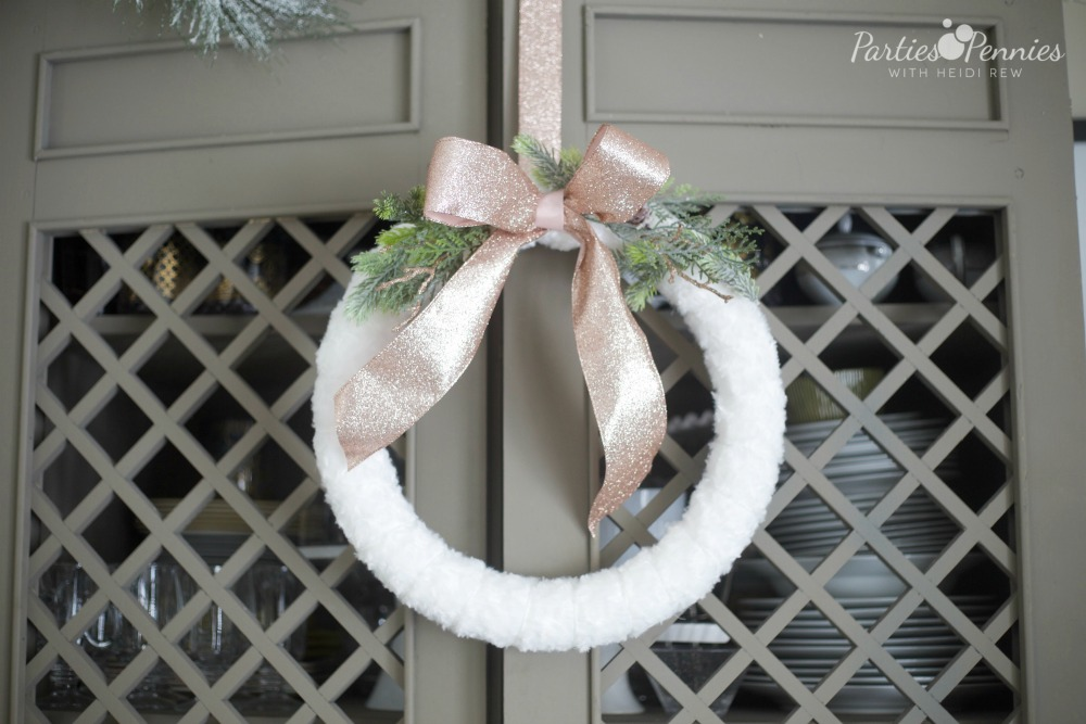 White Wreath with Rose Gold Ribbon | Christmas Wreath